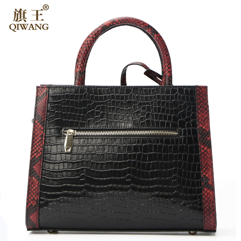 6c4bac040a Qiwang Women Real Leather Handbag Genuine Leather Women Crocodile Handbag  Triangle Famous Brand Designer Bag Secret of Desert-in Top-Handle Bags from  ...