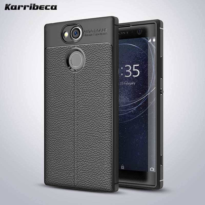 Litchi silicone case xa2 ultra funda hoesje lychee leather pattern kilifi tpu cover for sony xperia xa2 coque etui kryt tok husa