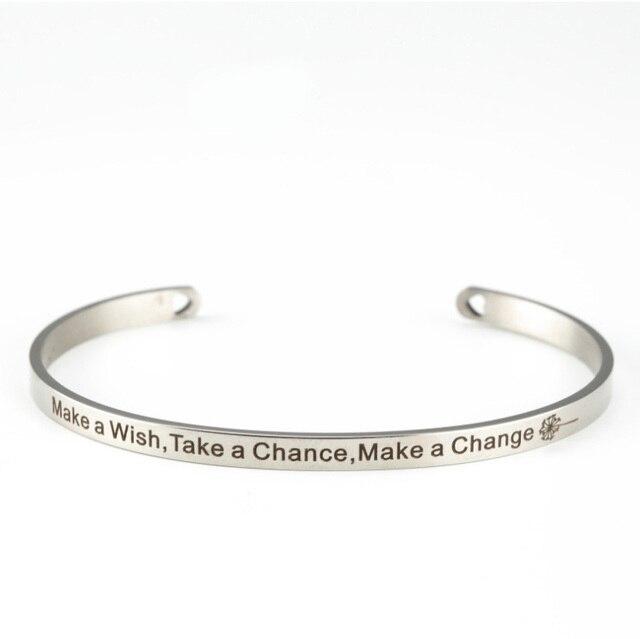 Stainless Steel Bangle Make A Wish Take Chance Change Customized