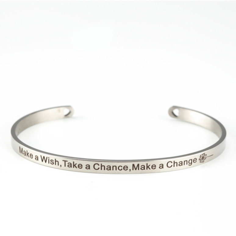 Stainless Steel Bangle Make a Wish, Take a Chance, Make a Change -Customized Your Own Logo Picture Free Engraving