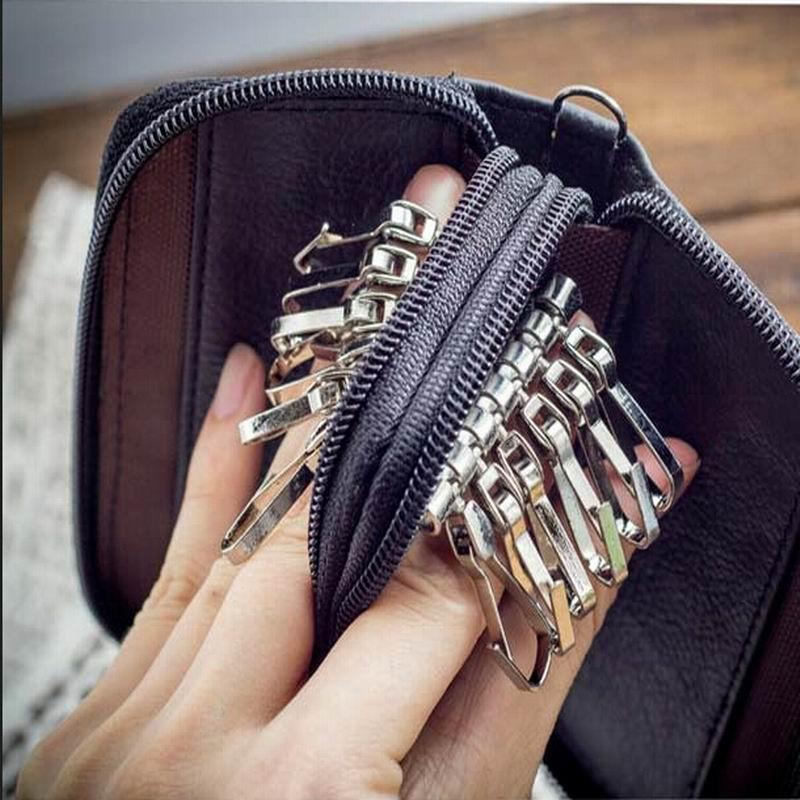New Arrival Men Genuine Leather Bag Coin Purse Double Zipper Key Wallets Fashion Women Housekeeper Card Key Holders