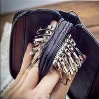 Nouveauté hommes en cuir véritable sac porte-monnaie Double fermeture éclair clé portefeuilles mode femmes femme de ménage carte porte-clés