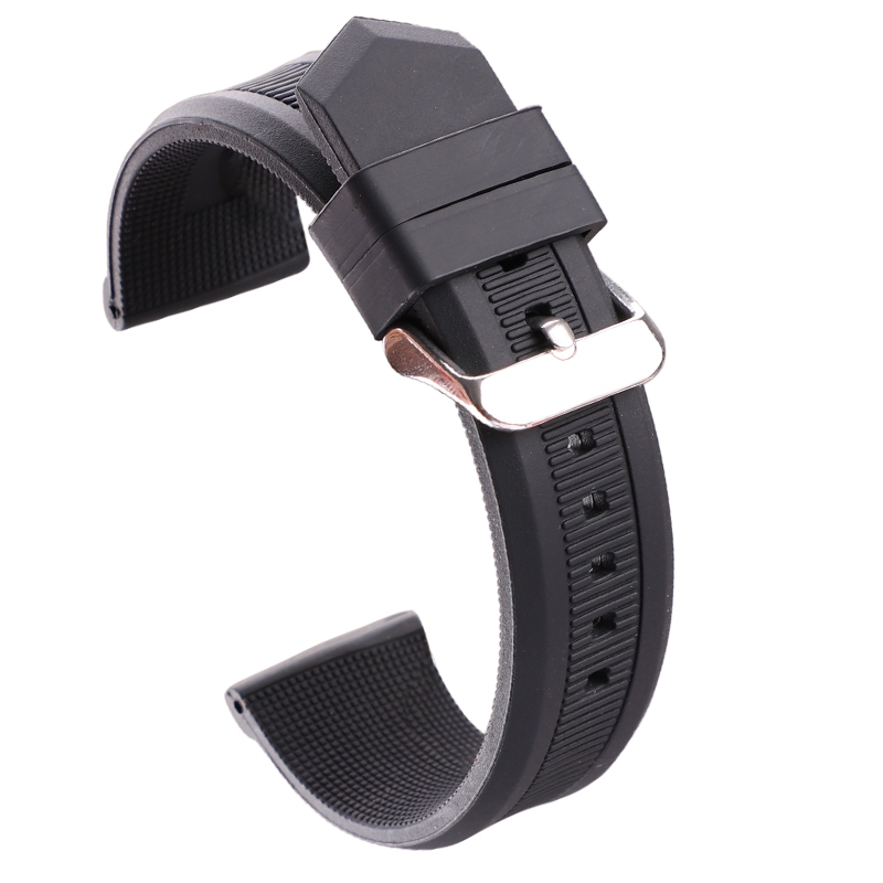 HENGRC 22mm Silicone Rubber Watch Band High Qualiyt Soft Sports Diving Black Orange Red Fashion Watchbands Strap Metal Buckle image