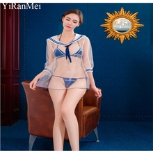 YiRanMei White powder  Bodystocking Lace Transparent Short Skirt And Sexy Thong Panties Erotic Lingerie Sets For Women