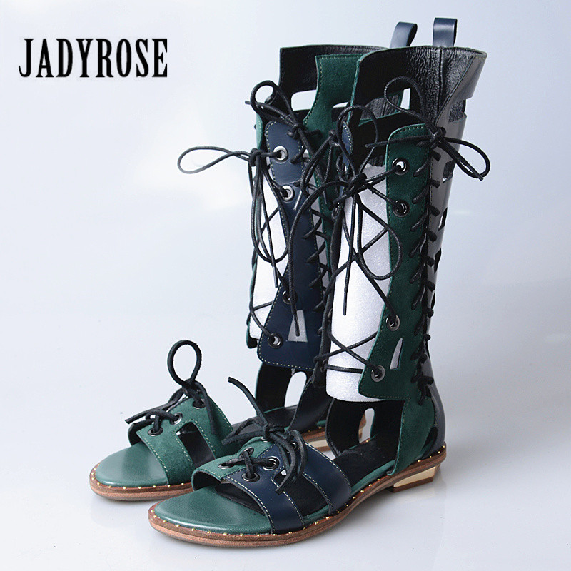 Jady Rose Fashion Hollow Out Women Summer Boots Lace Up Gladiator Sandals Flat Beach Shoes Woman Casual Sandalias Mujer Flats a income summer lover unisex hole hollow sandals mules footwear couple shoe women anti skid beach flats casual shoes sandalias