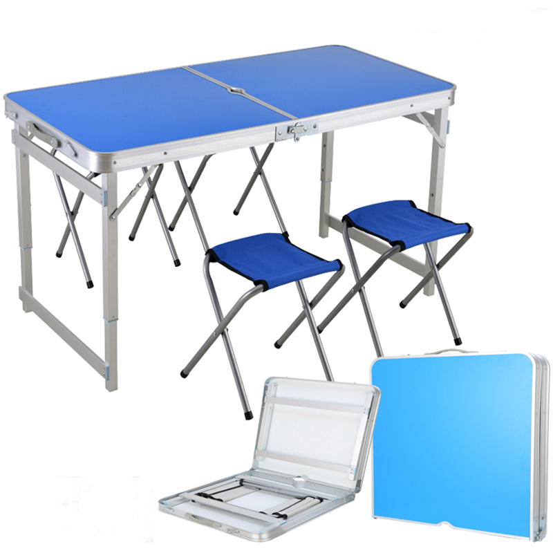 Honest Outdoor Tourism Aluminium Alloy Folding Table Conjoined Desk Chair Portable Camping Picnic Barbecue Advertising Exhibition Desk Camping & Hiking