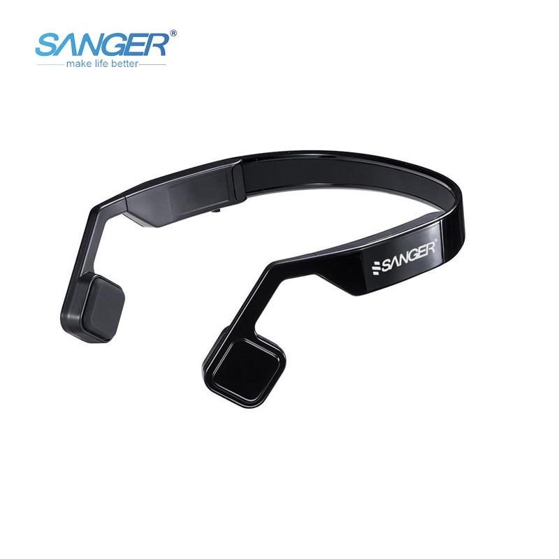 SANGER Bone Conduction Headphones Open-ear Bluetooth 4.1 Wireless Sports Headset Earphones with Mic Sweatproof for Smartphones for cobra garmin two way radios in ear stlye bone conduction headset