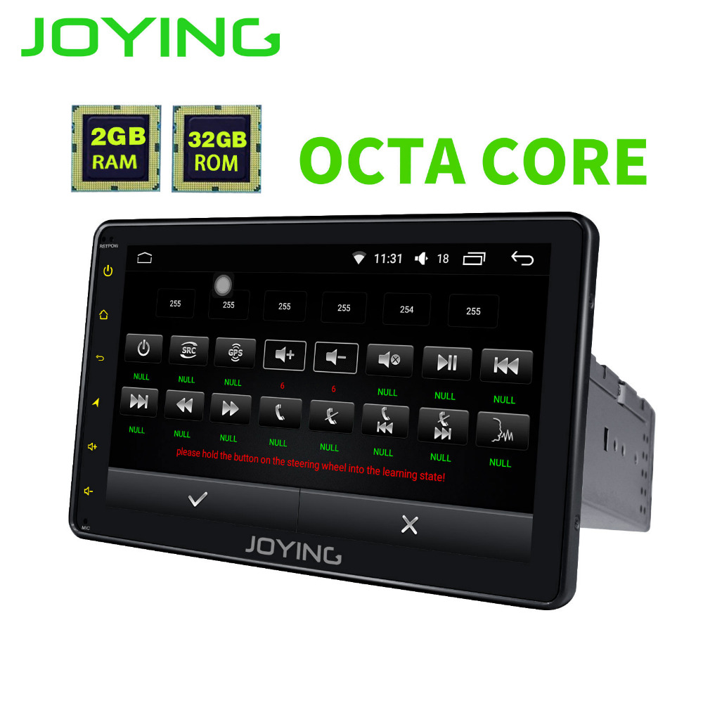 JOYING 2GB Ram 32GB ROM Octa 8 core Car Radio 1din Android 6.0 auto Audio Stereo Head Unit Tape Recorder Multimedia player GPS joying 2gb hd 10 touch screen 2din android 8 0 car auto radio stereo audio steering wheel head unit gps tape recorder free obd