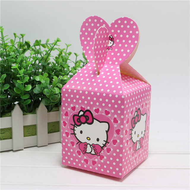 New 6pcs Baby Shower Favors Hello Kitty Favor Box Candy Box Birthday