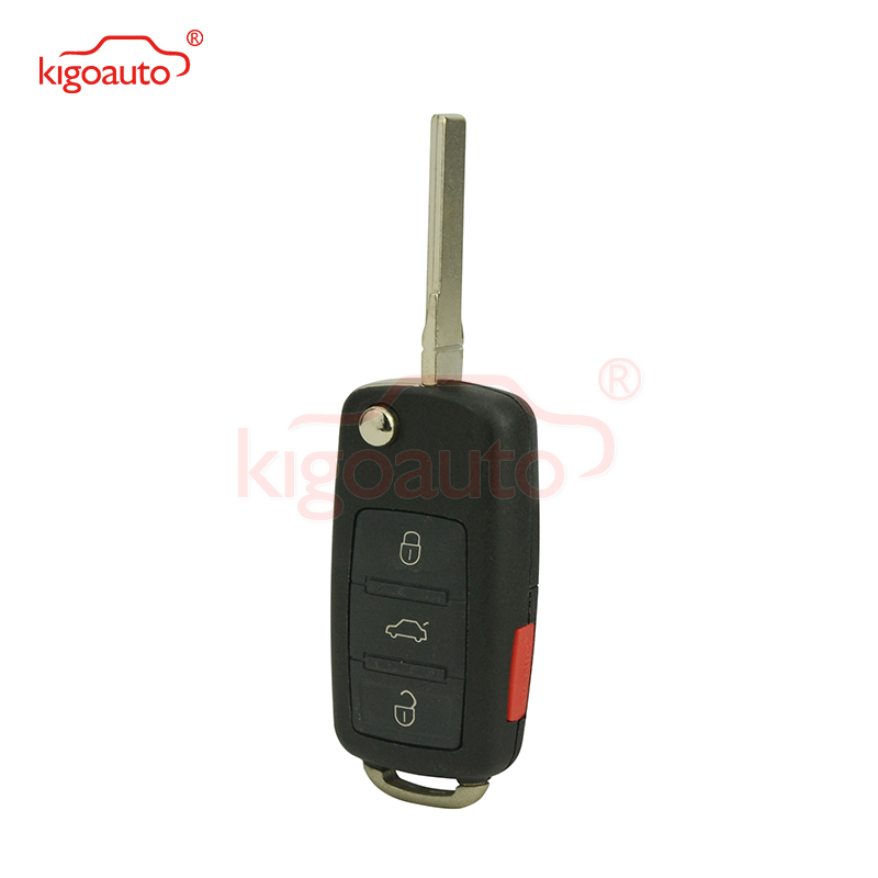 Flip Remote key shell 3 button with panic for Volkswagen Touareg 2004 2005 2006 2007 2008 2009 2010 2011