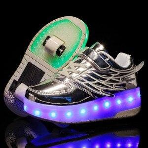 Image 3 - Детские кроссовки с колесиками, модная обувь для роликовых коньков, со светодиодной подсветкой, зарядка через USB, розовые, золотые