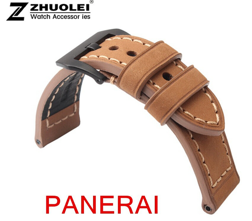 24mm 22mm Buckle PILOT Rivet Style Genuine Leather Watch Band Strap Deployment Clasp For Brand