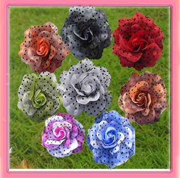 41/2'' rose flower with dot net  alligator hair clip and brooch pin