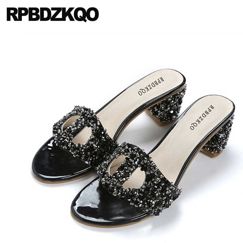 affa920685cb65 Block High Heels Diamond Bling Crystal Slippers Pumps Women Slides Designer Sandals  Luxury 2018 Shoes Rhinestone