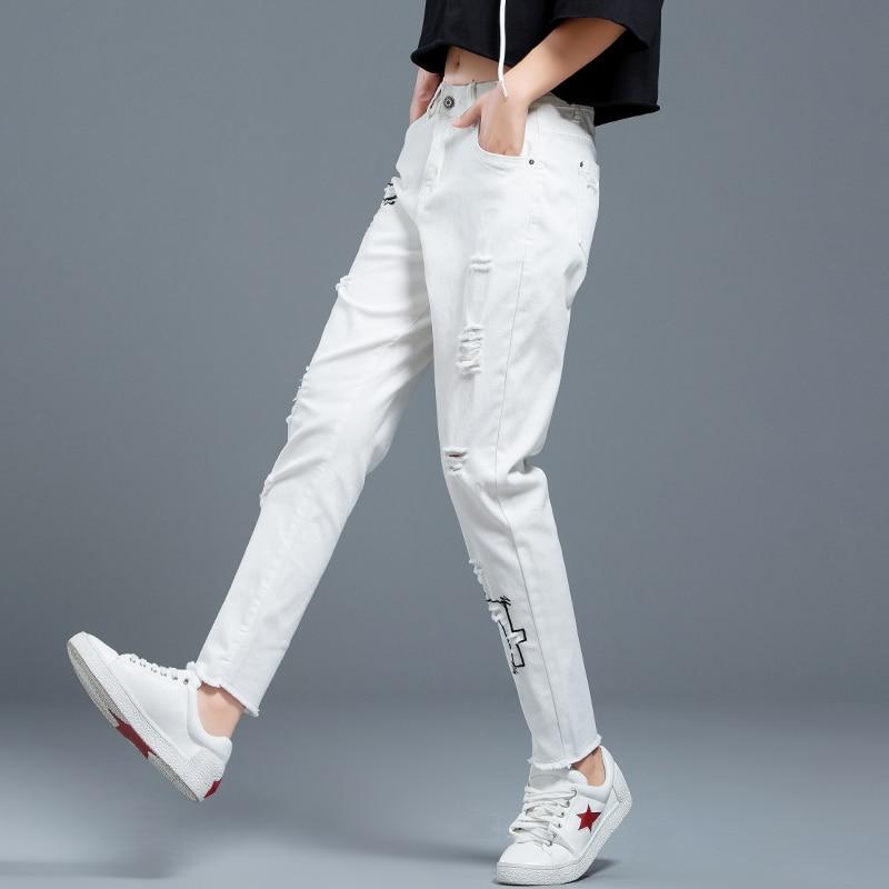 Womens Bordado Falda Vaqueros Pantalones Primavera Jeans 2019 Alta Mujeres Moda Tamaño De Cintura Agujero Las Plus Harem Nueva Para Casual White La OwrqO4Tn