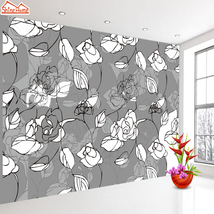 ShineHome-Black White Rose Leaf 3d Wallpaper for Walls 3 d Wallpapers for Livingroom Kids 3 d Mural Roll Room Bar Background shinehome europe church black and white painting wallpaper wall 3d murals for walls 3 d wallpapers for livingroom 3 d mural roll