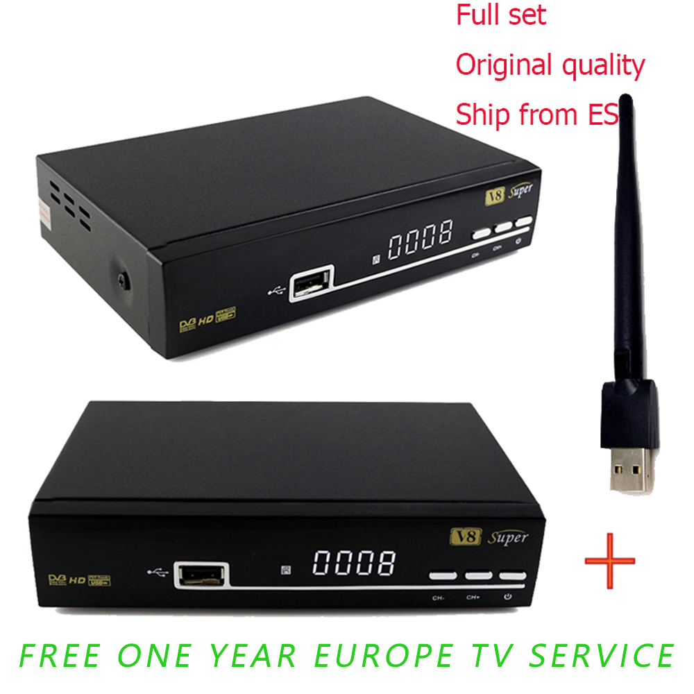 1 Year Clines Spain V8 super DVB-S2 Satellite Receiver Decoder Support 1080P Full HD powervu clines bisskey + USB WIFI tiffany shell vintage stained glass iron mermaid wall lamp indoor lighting bedside lamps wall lights for home ac 110v 220v e27