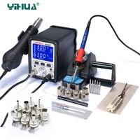 YIHUA 995D + Обновление видения Съемная паяльная станция горячего воздуха ЖК дисплей SMD паяльная станция сварочный инструмент