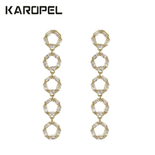 купить Fashion Crystal Zircon Circle Tassel Earrings Fashion Zircon Drop Dangle Earrings Jewelry Gift For Women дешево