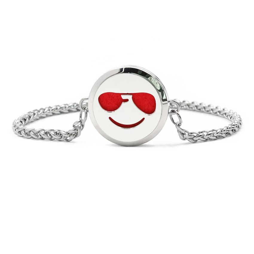 Face Expression Chain Bracelet Magnetic Stainless Steel Essential Oil Bracelet Perfume Diffuser Locket Bracelet 10pcs Pads
