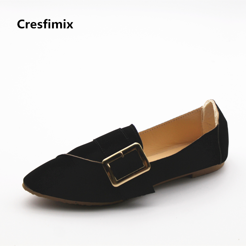 Cresfimix zapatos de mujer women fashion black flock slip on flat shoes lady casual summer comfortable flats female cool sheos cresfimix women fashion