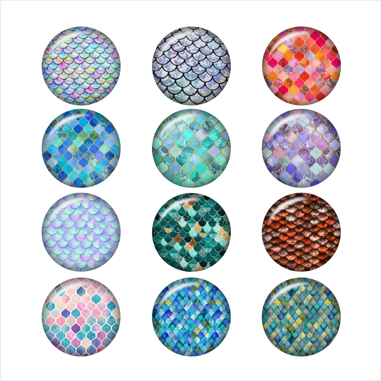 rainbow mermaid scales glass snap button jewelry photo print Phone Holder DA1036