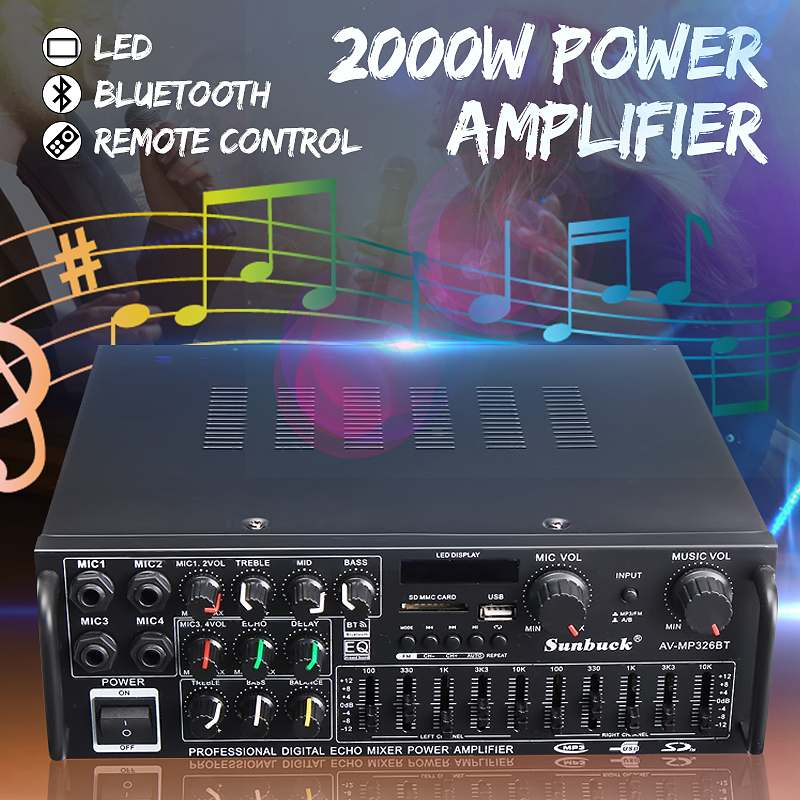 CLATE 220V-240V 1200W 2.0 Channel Audio Power Sound Amplifier bluetooth Amplifer audio Board Support 4 Way Microphone InputCLATE 220V-240V 1200W 2.0 Channel Audio Power Sound Amplifier bluetooth Amplifer audio Board Support 4 Way Microphone Input