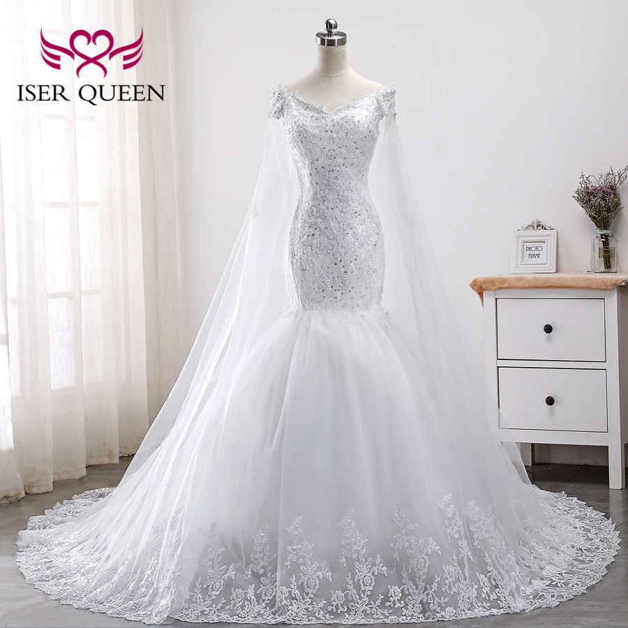 Cap Sleeve Lace Mermaid Wedding Dresses 2019 New Pure White Plus Size Appliques Embroidery Bride Dress WX0011