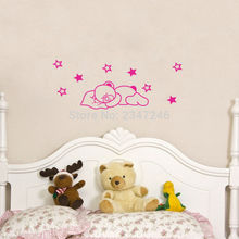 Sweet Dreams Quotes Wall Decal Sleeping Bear DIY Stars Home Decor Sticker for Baby Room Nursery
