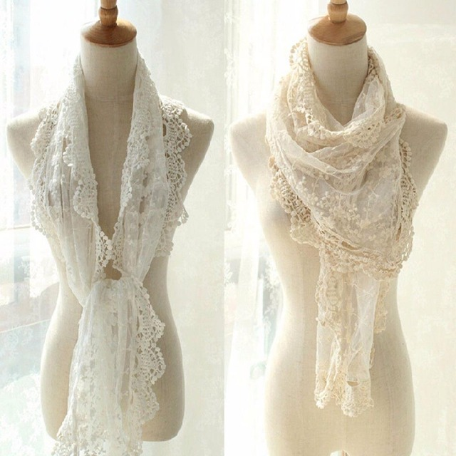 76245959552fb Women Lace Cape Scarf Ultra Long Milk Silk Tassel Cut Out Crochet Cashers  Three-dimensional Bohemia Flower White Scarves Shawls