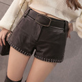 Fashion Rivets Washing PU Leather Shorts Womens 2017 Autumn Female Fashion Boots Shorts Belted High Waist Shorts With Pockets