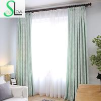 Slow Soul Yellow Brown Light Green Leaves New Curtains Cotton Jacquard Cloth Curtain For Living Room