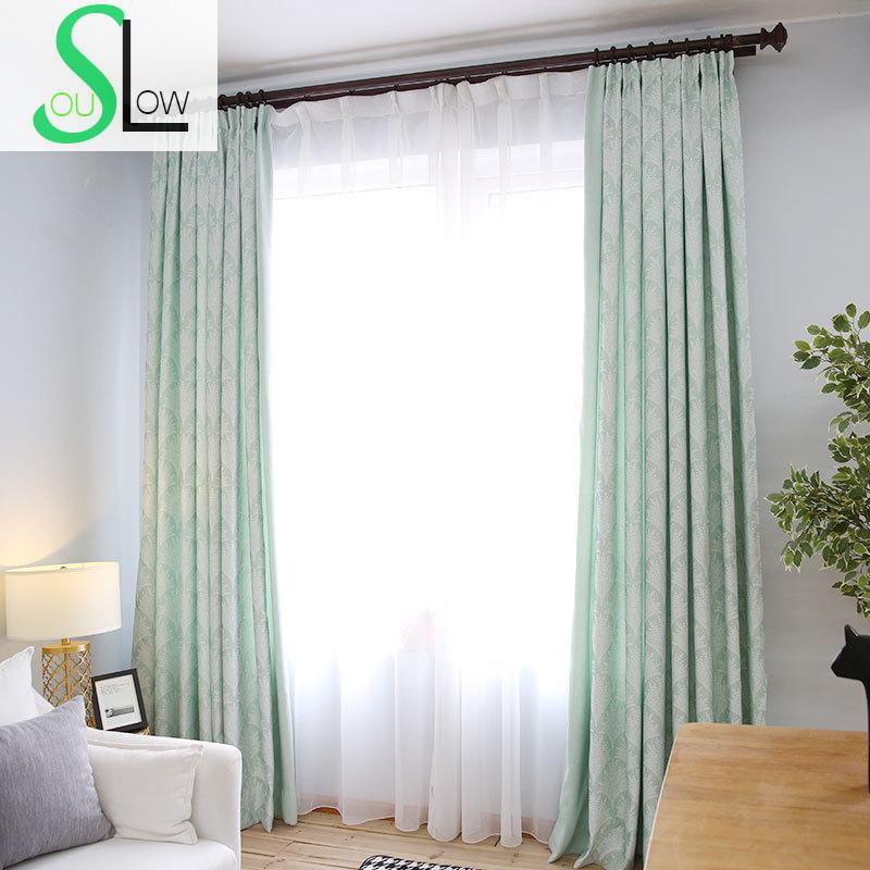 awesome light green living room curtains   Slow Soul Yellow Brown Light Green leaves New Curtains ...