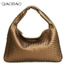 QIAOBAO New European and American woven Hobos women s bag Quality sheepskin  dumplings wrapped shoulder shoulder handbags 7856c00158db2