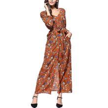 Women Summer Bohemian Chiffon Waistband Long Sleeve V Neck Boho Floral Dress Open Slit Split Beach Maxi Sun