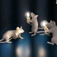 Мышь настольная лампа творческий смолы фантазии белый скандинавский гостиной исследование украшения света детская комната Спальня Свет Н