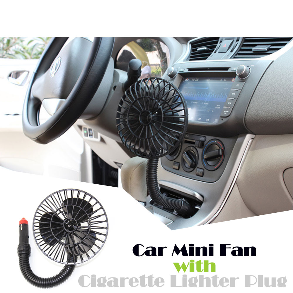 Universal fit 4 inch Mini Silent Car Fan plug-in electric DC 12V 15W car portable fan with Cigarette lighter plug