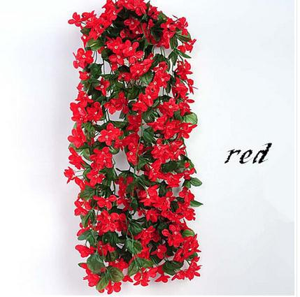 85cm Lifelike Violet Orchid Ivy Artificial Flower Hanging Plant Silk Garland Vine 5 Colors African Wedding Decorations In Dried Flowers