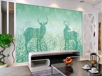 La coutume 3D peintures murales, 3 d bleu rétro abstrait main caricature dessinée arbre elk, salon canapé TV mur chambre mur papier