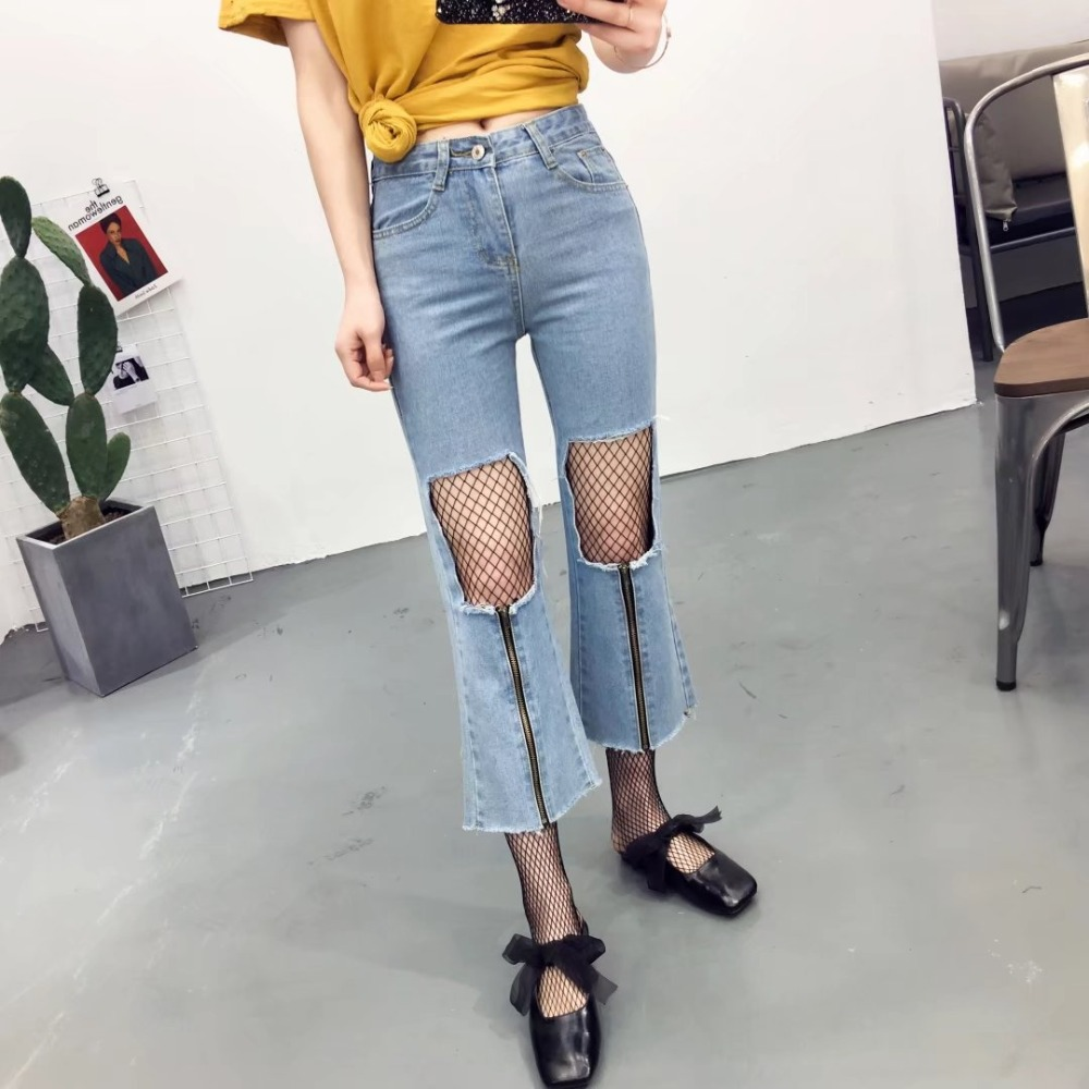2017 New Fashion Floral Embroidery Mesh Ripped Hole mix Blue jeans Women Vintage Denim Pencil Pants Casual Low Waist Trousers new summer vintage women ripped hole jeans high waist floral embroidery loose fashion ankle length women denim jeans harem pants