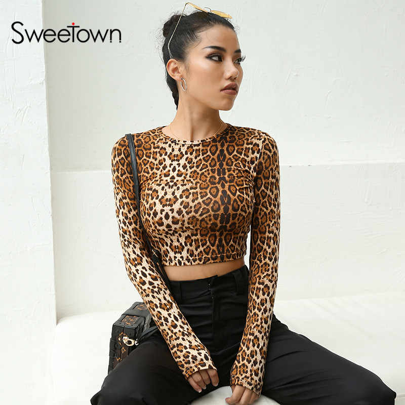 496f443a5 Sweetown Vogue Long Sleeve Crop Top Leopard Top T Shirt Autumn Winter 2018  Crewneck Tee Shirt
