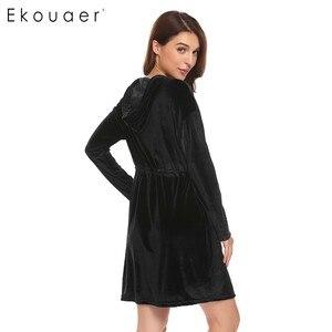 Image 4 - Ekouaer Women Robe Kimono Long Sleeve Velvet Hooded Solid Bathrobes Nighties Sleepwear Robe Dressing Gown Female Nightwear