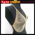 Summer Bikini Sexy Waist Jewelry Mesh Body Chain Bra Slave Harness Gold Plated Crystal Long Beach V Necklace Chain for Women
