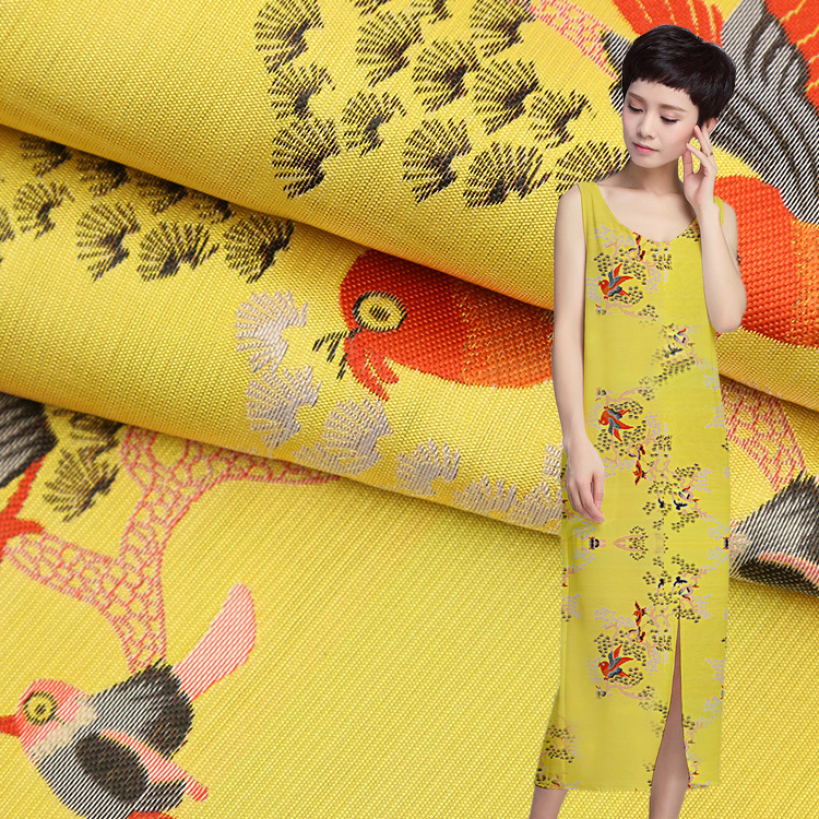 Magpie high color fastness high precision brocade fabric Yarn woven jacquard clothing cheongsam dress suit pants fabric factory