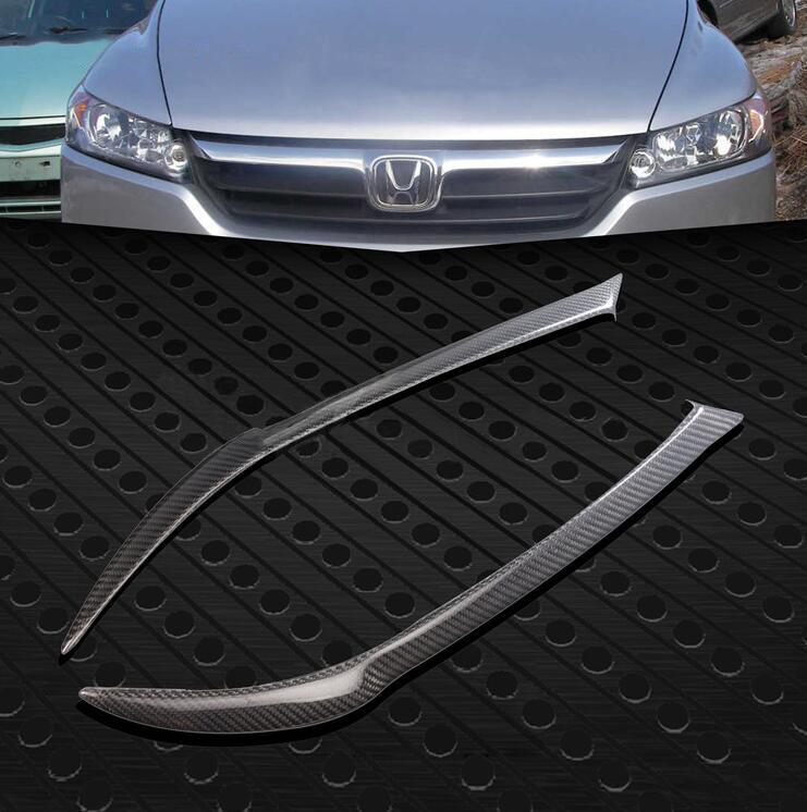 FUWAYDA 2 pcs Haute Qualité Réel décoration de Fiber De Carbone Phares Sourcils Paupières couverture pour Honda Stream 2008-2010