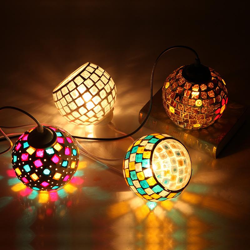 Moroccan Turkish Style Retro Vintage Pendant Light E27 Base Mediterranean Style Decoration Mosaic Hanging Lamp