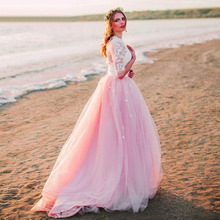 Eightree New Design Beach Wedding Dress Pink Sweetheart Illusion Back Bridal Boho Appliques Lace Long Sleeves Dresses 2019