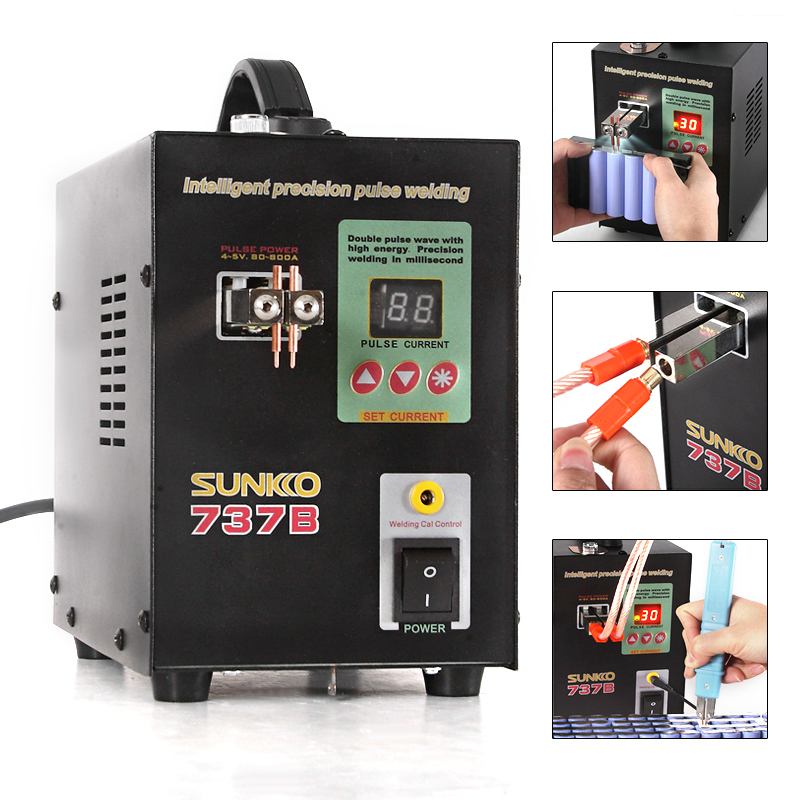 SUNKKO 737B batterie soudeuse 1.5kw précision impulsion soudeuse led lumière machine de soudage utilisé 18650 batterie pack spot soudeurs