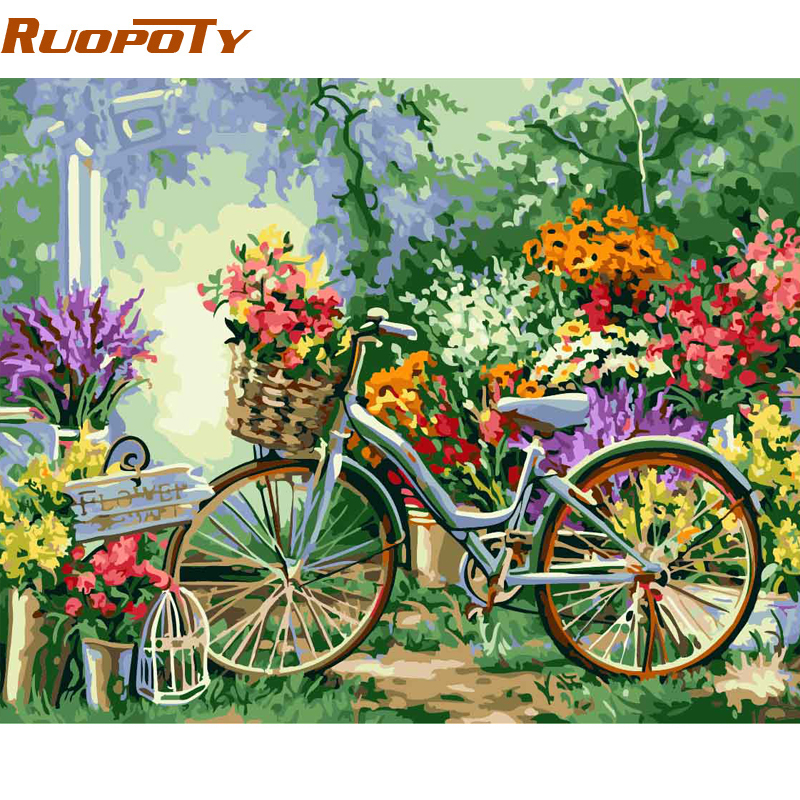 RUOPOTY Frame DIY Painting By Numbers Bicycle Flowers Kits Acrylic Paint By Numbers Hand painted Oil Painting For Home Decor