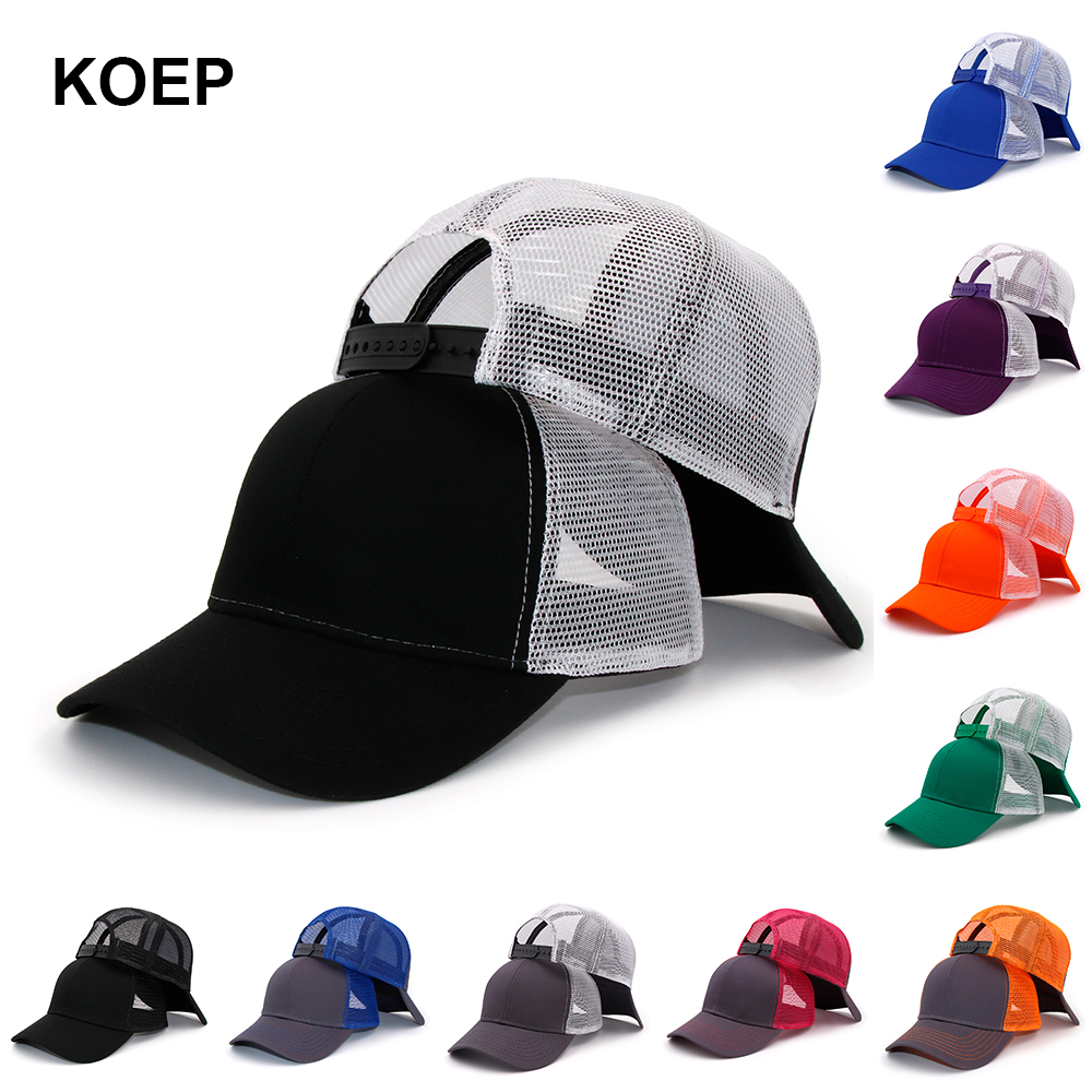 KOEP New Type Casual Solid Cotton Truck Cap For Women Men Black White Summer Baseball Cap Cool Mesh Snapback Dad Hats Free Ship